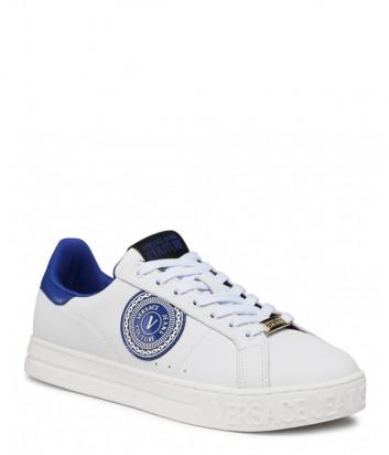 Кожаные кеды VERSACE Jeans Couture E0YWASK1 белые с синими эмблемами