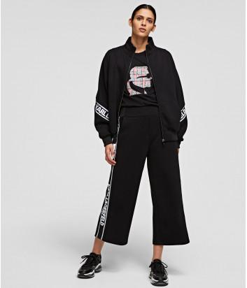 Укороченные брюки-кюлоты KARL LAGERFELD 211W1062 с брендированной тесьмой черные