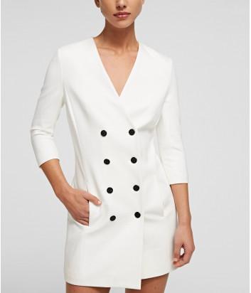 Двубортное платье-пиджак KARL LAGERFELD 211W1062 белое