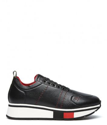 Кожаные кроссовки FABI FD6921 черные с красными вставками