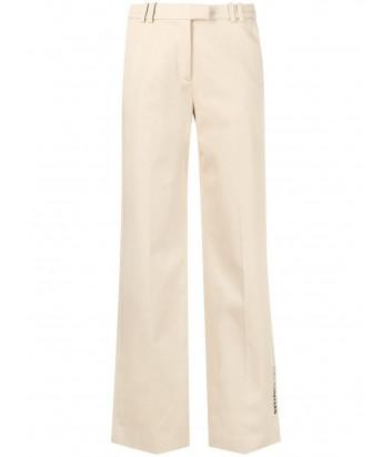 Широкие брюки KARL LAGERFELD 211W1005 бежевые с вышитым логотипом