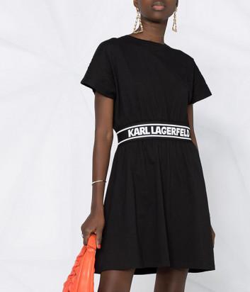 Платье KARL LAGERFELD 211W1361 черное с брендированной тесьмой