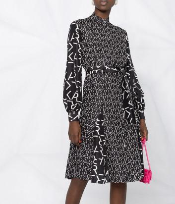 Шёлковое платье KARL LAGERFELD 211W1305 черное с принтом