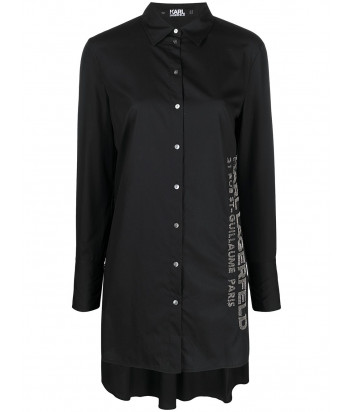 Платье-рубашка KARL LAGERFELD 211W1602 с декором черная