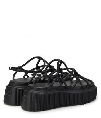 Кожаные сандалии ATTILIO GIUSTI LEOMBRUNI (AGL) 642050 черные