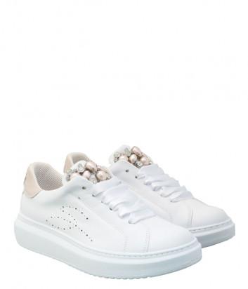 Кожаные кроссовки TOSCA BLU Agata SS2101S002 белые с декором