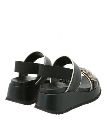 Кожаные босоножки TOSCA BLU Blenda SS2103S043 черные с декором