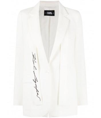 Белый пиджак KARL LAGERFELD 211W1405 с вышитым логотипом
