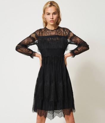 Платье TWINSET 202TP2374 с кружевом и бахромой черное