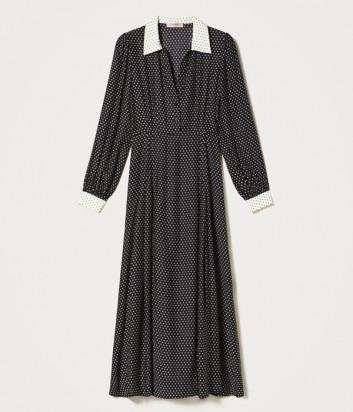 Длинное платье TWINSET 202TP2292 черное принт звездочки
