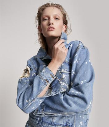 Джинсовая куртка ONE TEASPOON 23813 Royal Salt синяя с пятнами