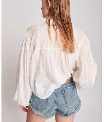 Блуза ONE TEASPOON 23823A Eternal Spirit с широким рукавом белая