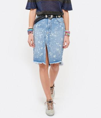 Джинсовая юбка ONE TEASPOON 23779 Royal Salt синяя с принтом