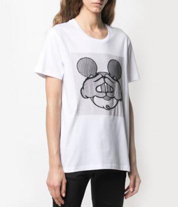 Белая футболка ICEBERG F0926301 с вышивкой Mickey Mouse