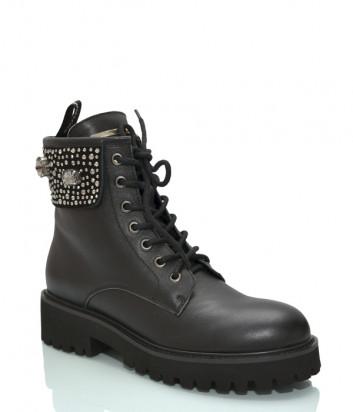 Кожаные ботинки BLUMARINE 3302 черные с декором
