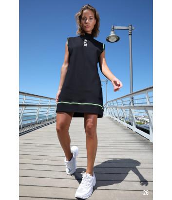 Черное платье ICE PLAY 21EU2M0H201P434 с логотипом и салатовым кантом