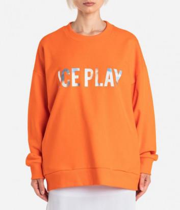 Оранжевый свитшот ICE PLAY 21EU2M0E051P451 с серебристым логотипом