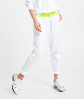 Белые брюки ICE PLAY 21EU2M0B121P434 с салатовым поясом