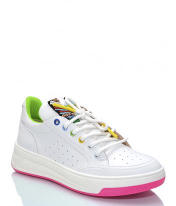 Кожаные кроссовки HELENA SORETTI 045/1 белые с цветным декором