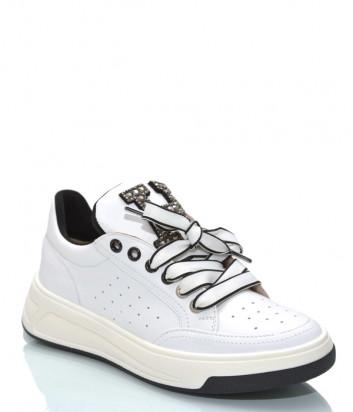 Кожаные кроссовки HELENA SORETTI 045/3 белые с декором
