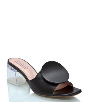 Кожаные сабо HELENA SORETTI 070 черные на прозрачном каблуке