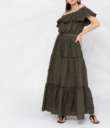 Длинное платье P.A.R.O.S.H. Curcuma D724187 цвета хаки