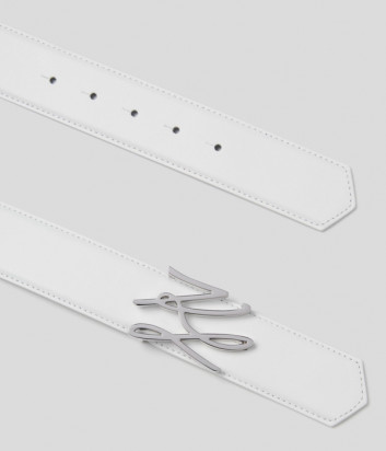 Кожаный ремень KARL LAGERFELD 211W3155 с логотипом-подписью белый
