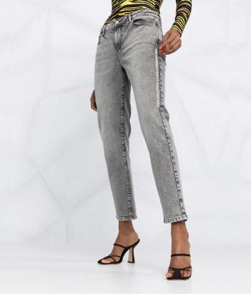 Прямые джинсы KARL LAGERFELD 211W1100 средней посадки серые