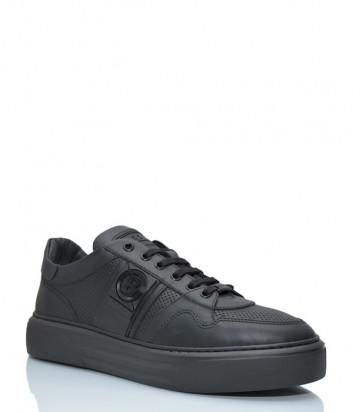 Кожаные кроссовки BALDININI 196304 с перфорацией черные