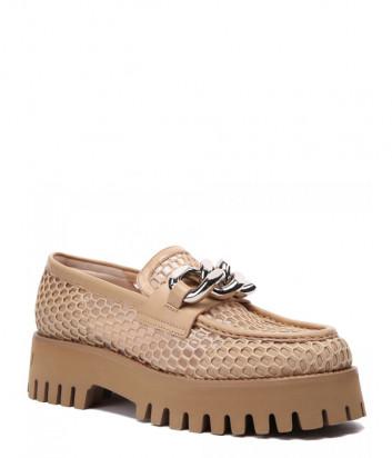 Кожаные туфли CASADEI 1D218S0401 с перфорацией бежевые