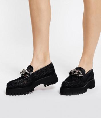 Кожаные туфли CASADEI 1D218S0401 с перфорацией черные