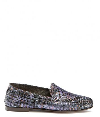 Кожаные лоферы FRAU 9690 с плетенной текстурой фиолетовые