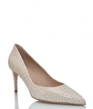 Кожаные туфли GIORGIO FABIANI 211001 с тиснением под крокодила бежевые