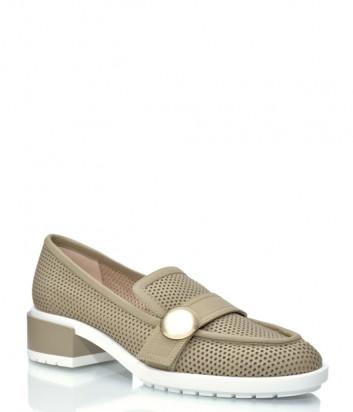 Кожаные туфли GIORGIO FABIANI 211039 с перфорацией бежевые