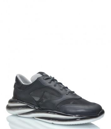 Кожаные кроссовки STOKTON 43-U на платформе черные