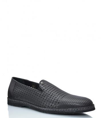 Кожаные туфли GIAMPIERO NICOLA 40233 с перфорацией черные