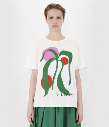 Белая футболка WEEKEND Max Mara Libia WE59710211 с ярким принтом