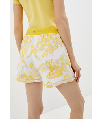 Шорты LIU JO TA1021 J6168 белые с желтой вышивкой