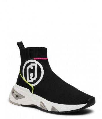 Текстильные кроссовки LIU JO Hoa 12 Mid BA1041 TX022 черные с яркими деталями