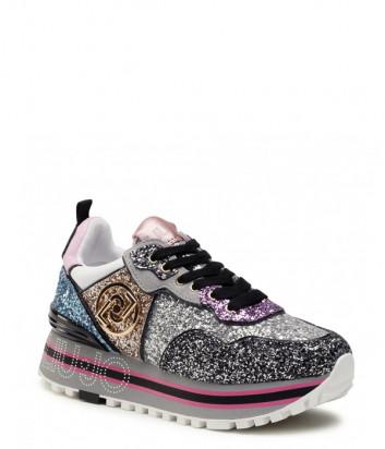Кожаные кроссовки LIU JO Maxi Wonder BA1069 TX007 с глиттерной отделкой цветные