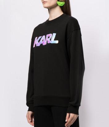Толстовка KARL LAGERFELD 211W1882 с логотипом черная