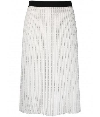Плиссированная юбка KARL LAGERFELD 211W1202 белая с логотипом