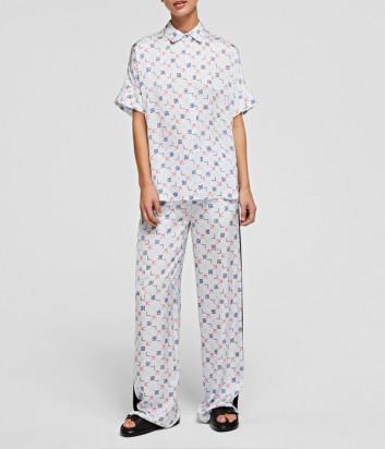 Костюм KARL LAGERFELD 211W1607/1000 в пижамном стиле голубой с принтом