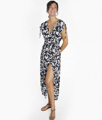 Длинное платье YSABEL MORA Ruby 85775 на запах черное с принтом