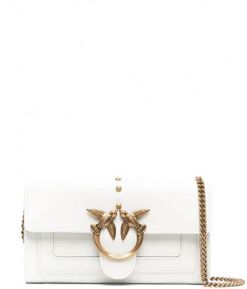 Кожаная сумка-кошелек PINKO Love Wallet Simply 1P221Y на цепочке белая