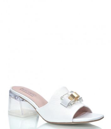 Кожаные сабо HELENA SORETTI 070/30 белые на прозрачном каблуке