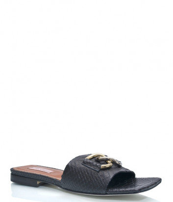 Кожаные шлепанцы HELENA SORETTI 090/1 с квадратным носком черные