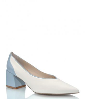 Белые туфли-лодочки H'ESTIA DI VENEZIA 1686 на голубом каблуке