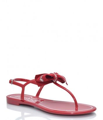 Силиконовые сандалии MENGHI 817 с бантиком красные