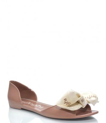 Силиконовые сандалии MENGHI 901e с бантиком коричневые